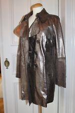 BURBERRY LONDON Leder Trenchcoat Mantel Metallic Gold Jacke ORIGINAL 36 38