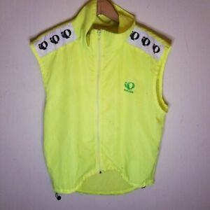 Pearl Izumi Mens Cycling Vest Yellow Mesh Full Zipper Mock Neck Sleeveless L