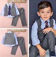 4pcs Kids Baby Boys Waistcoat+Tie+Shirt+Pants Outfits Clothes Gentleman Suit Set