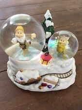 "Disney ""Happy & Dopey"" Snow Fight Christmas Musical Snow Globe Play Greensleeves"