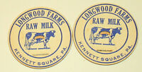 2 Vtg Longwood Farms Kennett Square PA Dairy Raw Milk Bottle Cap NOS 1950s