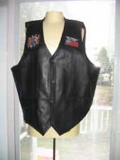 "USA Bikers Dream Apparel Black Leather Vest -""NEVER FORGET"" SIZE 52, BRAND NEW"