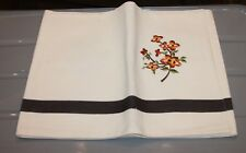 Nos Aman Table Runner off white embroidered flowers brown India 14 x 54