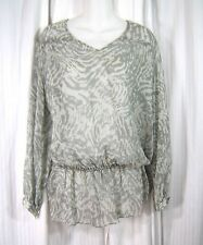 Haute Hippie Sz XS Gray Silver Subtle Animal print Long Sleeve Shirt Tunic Top