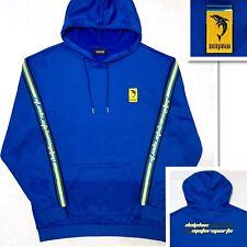 New PINK DOLPHIN MOTORSPORTS Men's Hoodie Sweatshirt Pullover Blue Yellow Sz L