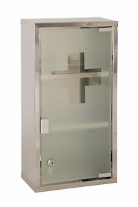 Wall Mounted Lockable Stainless Steel Medicine Cabinet First Aid Cupboard Box