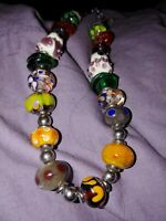 Artisan -made Vintage Lampwork/Handblown Glass Bead Necklace With Sterling...
