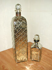 LOT OF 2 WIRE WRAPPED SILVER GLASS DECORATIVE BOTTLES W/ STOPPERS MADE IN INDIA