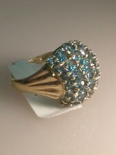 GORGEOUS 10 KT Solid GOLD Blue Stone Ladies Cocktail RING  6 Free Shipping