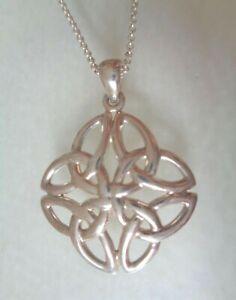 Sterling 925 Stamped, Hallmarked, Celtic Design Pendant Necklace.