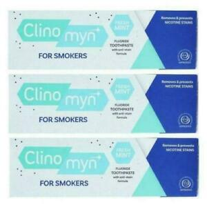3 X CLINOMYN TOOTHPASTE FOR SMOKERS 75ml REMOVES NICOTINE STAINS