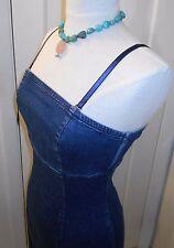Womens LIZ CLAIBORNE Blue Denim Stretch Form Fit Straps or Strapless Sun Dress~6