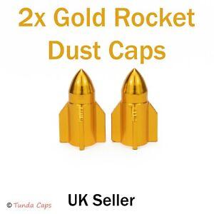 2X Gold yellow Rockets Valve Stem Dust Caps Car BMX Motorbike Mountain Bike Tyre