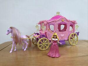 * DISNEY PRINCESS MAGICLIP Royal Carriage AURORA Sleeping Beauty Playset RARE *