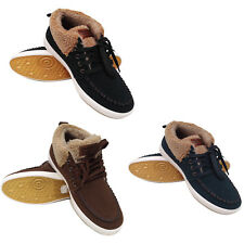 Mens Boys Faux Suede Fur Lined Shoes Casual Warm Trainers Winter Boots