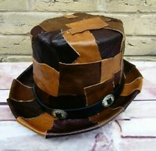 Unique OOAK GENUINE LEATHER Patchwork Browns Steampunk Top Hat (SA)