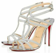 Christian Louboutin Renee 100 Silver Glitter Mini Strappy Sandal Heel Pump 37.5