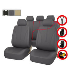 Universal Car Seat Covers Faux Leather Airbag Compatible Grey For Car TRUCK SUV