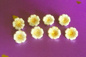 8 very pretty vintage German white glass flower buttons with gold lustre 12 mm.