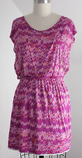 Womens Ella Moss M Pink Dress Summer Stripe Print Rayon Stretch Short Medium