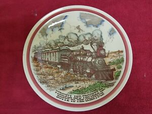 V&T VIRGINIA & TRUCKEE SOUVENIR PLATE OLD WEST GOLD & SILVER MINING RR 1940s?