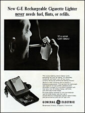 1965 man smoking G-E rechargeable cigarette lighter vintage photo print ad ads48
