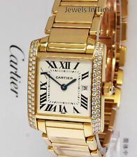 Cartier Tank Francaise 18k Yellow Gold & Diamond Midsize Watch Box/Papers 2466