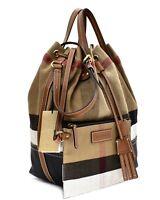 Burberry Brit Heston Canvas Check Large Shoulder Bag New