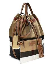 Burberry Brit Heston Canvas Check Large Shoulder Bag New