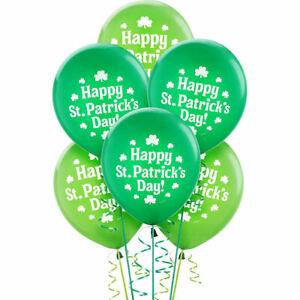 Happy St. Patrick's Day! Printed Latex Balloons (15 ct) - Shamrock Green