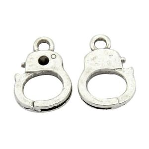 ❤ 25 x Tibetan Silver HANDCUFFS GOTH Charms Findings 14mm UK Stock Jewellery ❤