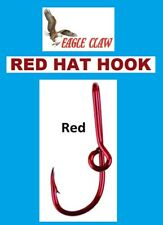 EAGLE CLAW RED HAT HOOK Colored Fish Hook Hat Clip /Baseball Cap Pin NEW!