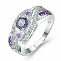 Wedding Band Rainbow Topaz & Amethyst Gemstone Silver Ring Size 6 7 8 9 10 Gifts