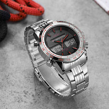 OHSEN Mens Silver Steel Dual Display Date Day Water Proof Quartz Wrist Watches