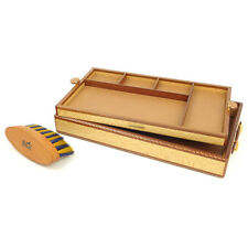 Authentic HERMES Wood Lather Tray Accessory Case Box With Brush Used F/S