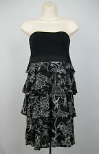 Express Tiered Tube Top Dress Women Size M Black White Floral Print Medium