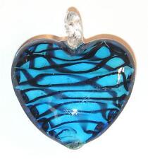 NECKLACE/PENDANT Lampworked Heart BLACK & BLUE