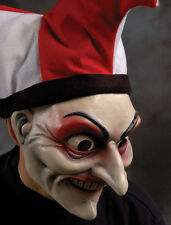 Jester Evil Scary Clown Fool Adult Latex Halloween Mask & Hat