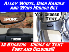 12x Personalised Stickers for Ford Focus, Alloy Wheels, Door Handle, Mirrors