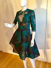 $3,495 Monique Lhuillier Lace Illusion 3/4-Sleeve Cocktail Dress, Size 6