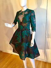 $3,495 Monique Lhuillier Lace Illusion 3/4-Sleeve Cocktail Dress, Size 6