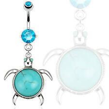 Dangle Belly Button Ring w/ Turquoise Sea Turtle