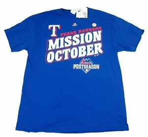 Majestic 2015 Texas Rangers Mission October Blue Youth Shirt 100% Cotton, L