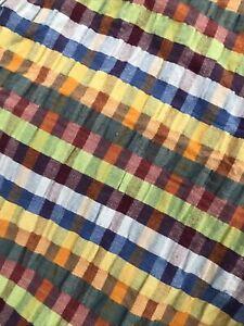 "VTG Crate & Barrel Puckered Cotton Madras Tablecloth 54"" Square"