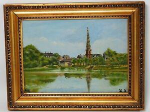 Erlöserkirche Kopenhagen - Gemälde Öl auf Platte Monogrammiert HA Datiert 1918