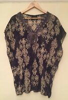 Ladies Women's Size Medium Midnight Blue & Cream Blouse Top By Rage With Coins