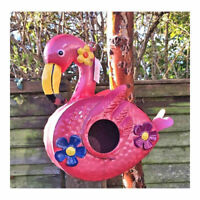 Pink ,Colourful Metal Flamingo Birdhouse - Garden Bird House  3D Flowers New