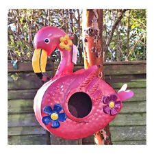 Pink ,Colourful Metal Flamingo Birdhouse - Garden Bird House  3D Flowers New