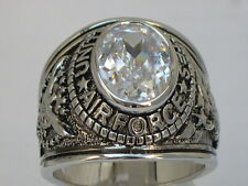 United States Air Force Military April Clear CZ Stone Men Rhodium Ring Size 9