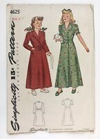 1940's Vintage Sewing Pattern Simplicity 4625 Child's Quilted Robe Robe  Size 8
